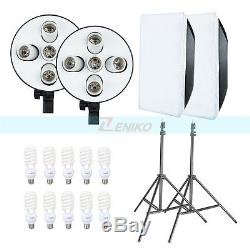 2250W Photo Studio Continuous Lighting 10X45W Bulbs 5070cm Softboxes Stands Kit