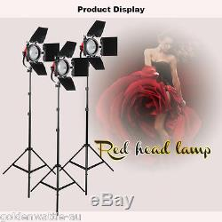2400W Studio Red Head Continuous Lighting Kit Set + Dimmer for Video Filming
