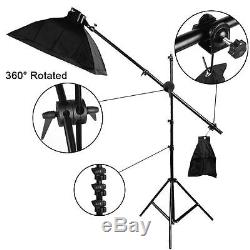 2850W Photo Studio Continuous Lighting Kit Soft Softbox Boom arm Backdrop Stand