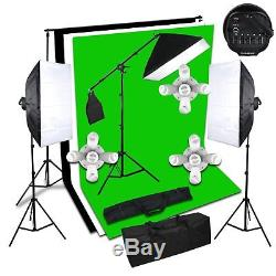 3375W Photo Studio Softbox Continuous Lighting Kit Boom Arm Backdrop Stand Set