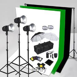 750W Photo Studio Flash Lighting Kit LED Cooling Fan 3 Backdrop Background Stand