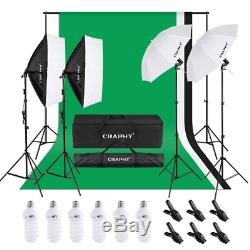 CRAPHY 1350W Photo Studio Softbox Continuous Lighting Kit, Green Screen Kit with