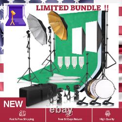 Cloth Green Screen BackDrop BackGround Lighting Studio Kit Set With Tripod Stand
