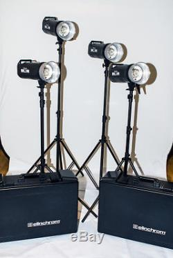 Complete Elinchrom studio lighting kit four lights and array of modifiers