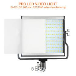 Dimmable Bi-color LED Video Light + 2M Light Stands Fr Camera Photography Studio