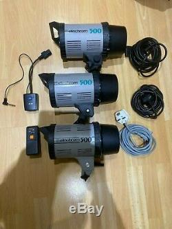 ELINCHROM EL500 Professional Studio Flash head with power lead x3