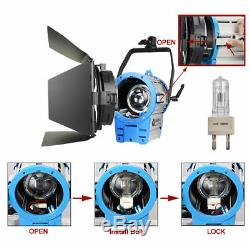 For Studio 1000W3 Fresnel Tungsten Spot Light +3Stand+3Dimmer+ Aluminium Case
