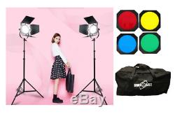 LED Redhead Dimmable 55W Continuous Spotlight Studio Light Stand Gels Kit UK