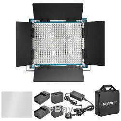 Neewer Studio Dimmable Bi-color LED Video Light with U Bracket and Barndoor Kit