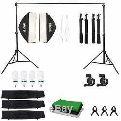 PhotR 2500W Photo Studio Background Lighting Kit Softbox Umbrella Bulb Stand Set