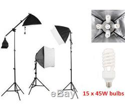 Photo Studio 3375W Continuous Lighting kit Softbox Boom arm 3 Background & Stand