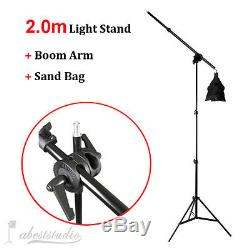 Photo Studio 3375W Softbox Continuous Lighting kit Boom arm 4 Background & Stand