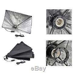 Photo Studio Softbox Continuous Lighting Kit with Black White Backdrop Equipment
