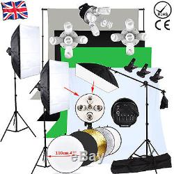 Photography Studio 3375W Softbox Continuous Lighting kit Boom arm 4 Background