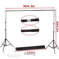 Photography Studio Continuous Lighting Kit Umbrella Background Support Backdrops