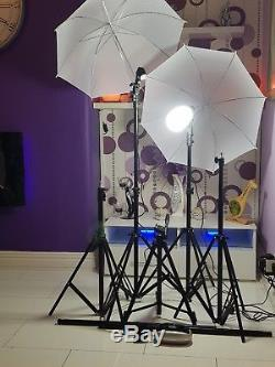 Photography kit for professional photo studio. Tripods and lights