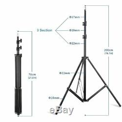 Selens 3-Pack Dimmable 480 LED Lamp Studio Video Light and 2M Stand Lighting Kit