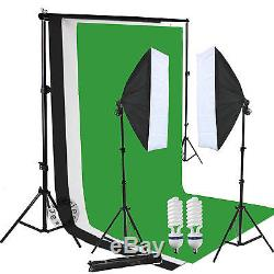 Studio Softbox Continuous Lighting Equipment Kit with Black Green White Backdrop