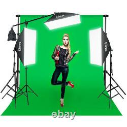 Video Photo Studio Photography Continuous Lighting Kit3 Backdrops Stand Set